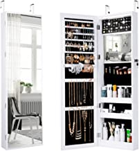LANGRIA Full Length Mirror Jewelry Cabinet Organizer, 10 LEDs Lockable Jewelry Armoire with Spacious Storage, Wall Mounted or Door Hanging, White