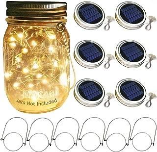 Aobik Solar Mason Jar Lid Lights, 6 Pack 30 Led String Fairy Star Firefly Jar Lids Lights,6 Hangers Included(Jars Not Included), Best for Mason Jar Decor,Patio Garden Decor Solar Laterns Table Lights