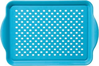 Oggi 5504.6 Rectangle Non Skid Rubber Grip Serving Tray, Aqua