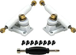 Teak Tuning Professional Shaped Prodigy Trucks with Upgraded Lock Nuts - 32mm Wide - White Colorway