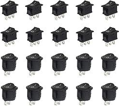 LAITER 10 pcs Interruptor Basculante Redondo con 2Terminales + 10 pcs Interruptor Basculante Rectángulo con 3Terminales Negro SPST ON-OFF con Botón para Coche Barco Camión de Remolque Automóvil