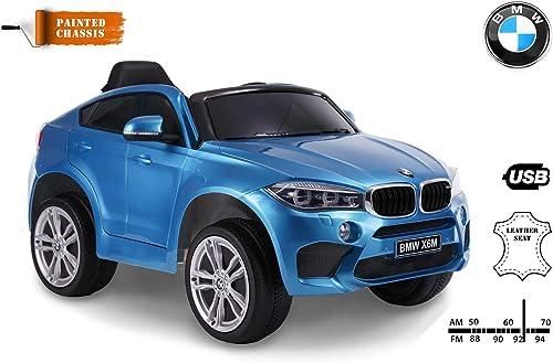 hasta un 60% de descuento RIRICAR Coche Coche Coche eléctrico BMW X6M Nuevo - Asiento Individual, Pintado en azul, con Licencia Original, Alimentado por batería, Puertas Que se abren, Asiento de Cuero, 2X Motor, batería de 12 V  ventas al por mayor