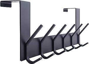 WEBI Over The Door Hook Door Hanger:Over The Door Towel Rack with 6 Coat Hooks for Hanging,Door Coat Hanger Towel Hanger O...