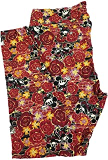 Lularoe TC2 Disney Mickey and Minnie Mouse Dancing in The Flowers Red Black Yellow Stripe Leggings fits Adult Sizes 18+