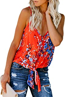 dbe61f4388 Elapsy Womens Floral V Neck Button Up Cami Tank Top Knot Front Sleeveless  Blouse T Shirts