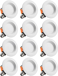 TORCHSTAR 12-Pack 4 Inch Dimmable Recessed LED Downlight with Smooth Trim, 10W (65W Eqv.), CRI 90, ETL, 5000K Daylight, 700lm, LED Retrofit Lighting Fixture, 5 Years Warranty