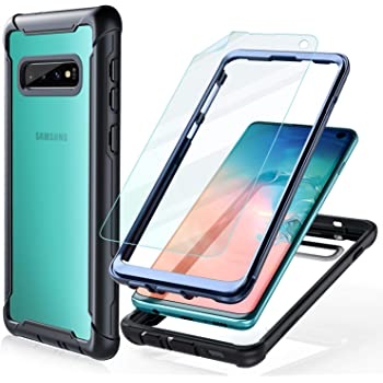 Samsung Galaxy S10 Case - FITFORT Full Body Rugged Heavy Duty Clear Bumper Case with Screen Protector, Shock Drop Proof Impact Resist Extreme Durable Protective Cover for Galaxy S10 (2019)