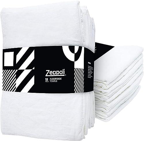 "wholesale Zeppoli 12-Pack outlet online sale Flour 2021 Sack Towels - 31"" x 31"" Kitchen Towels - Absorbent White Dish Towels - 100% Ring Spun Cotton Bar Towel online sale"