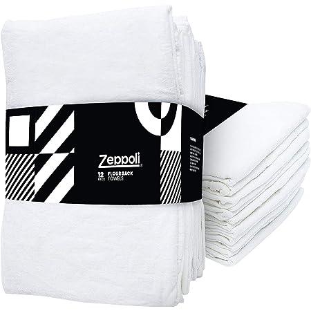 "Zeppoli 12-Pack Flour Sack Towels - 31"" x 31"" Kitchen Towels - Absorbent White Dish Towels - 100% Ring Spun Cotton Bar Towel"