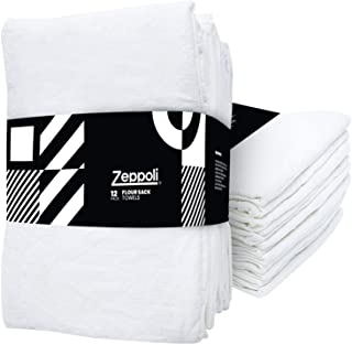 "Sponsored Ad - Zeppoli 12-Pack Flour Sack Towels - 31"" x 31"" Kitchen Towels - Absorbent White Dish Towels - 100% Ring Spun..."
