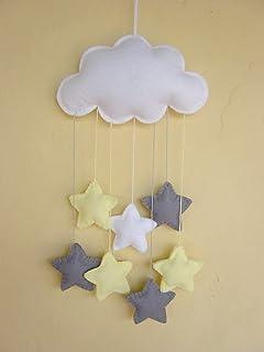 Móvil bebé nube fieltro estrellas gris amarillo blanco nombre regalo unisexo
