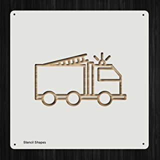 Fire Truck Fire Truck Rescue Fireman Plastic Mylar Stencil for Painting, Walls and Crafts, Item 652802
