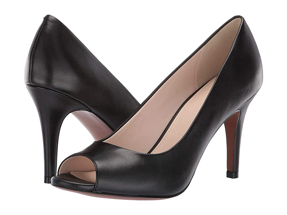 Cole Haan 85 mm Harlow Open Toe Pump (Black Leather) Women