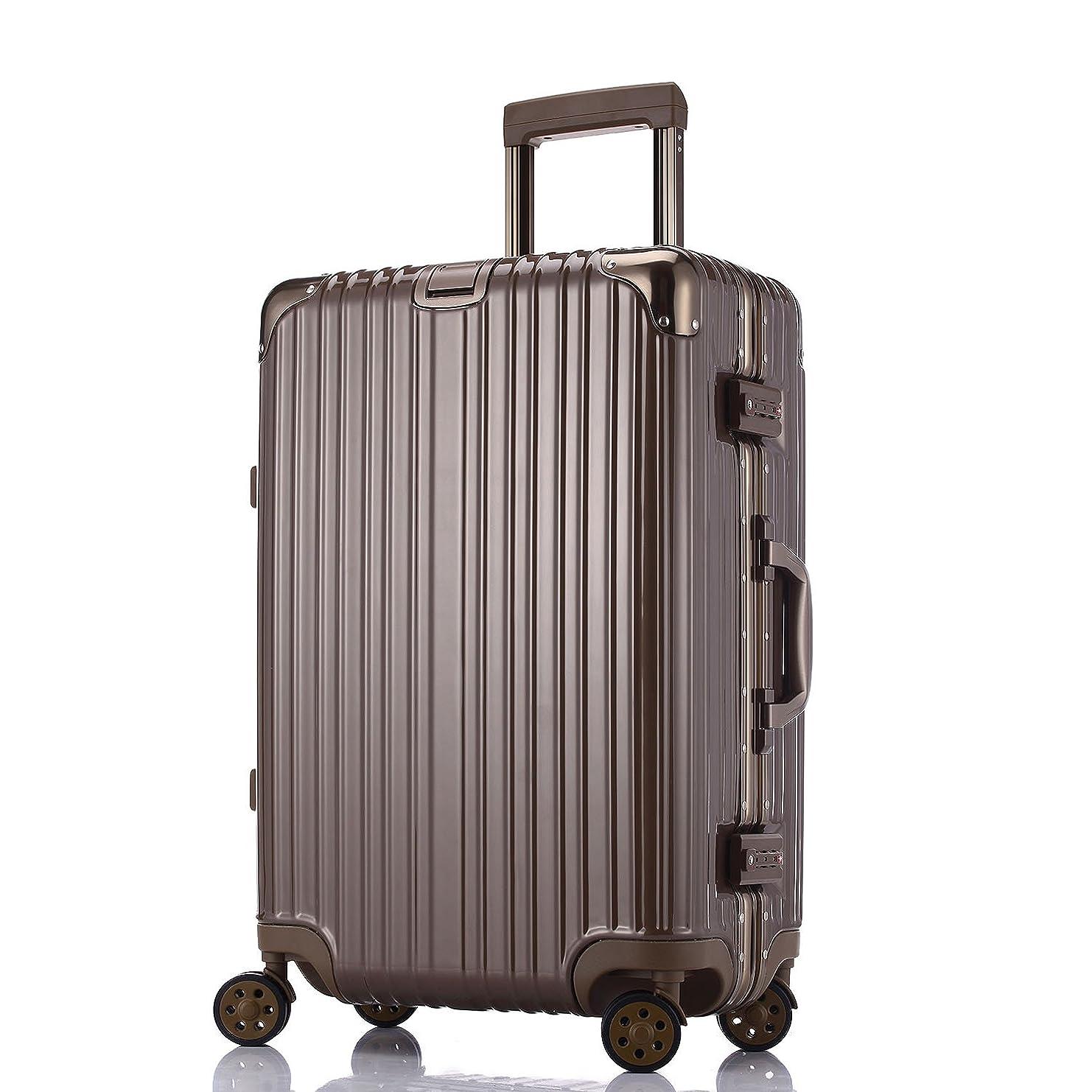 クルー続けるミサイルTotell スーツケース 超軽量 キャリーケース TSAロック 鏡面仕上げ アルミフレーム 旅行 大容量 キャリーバッグ 機内持込