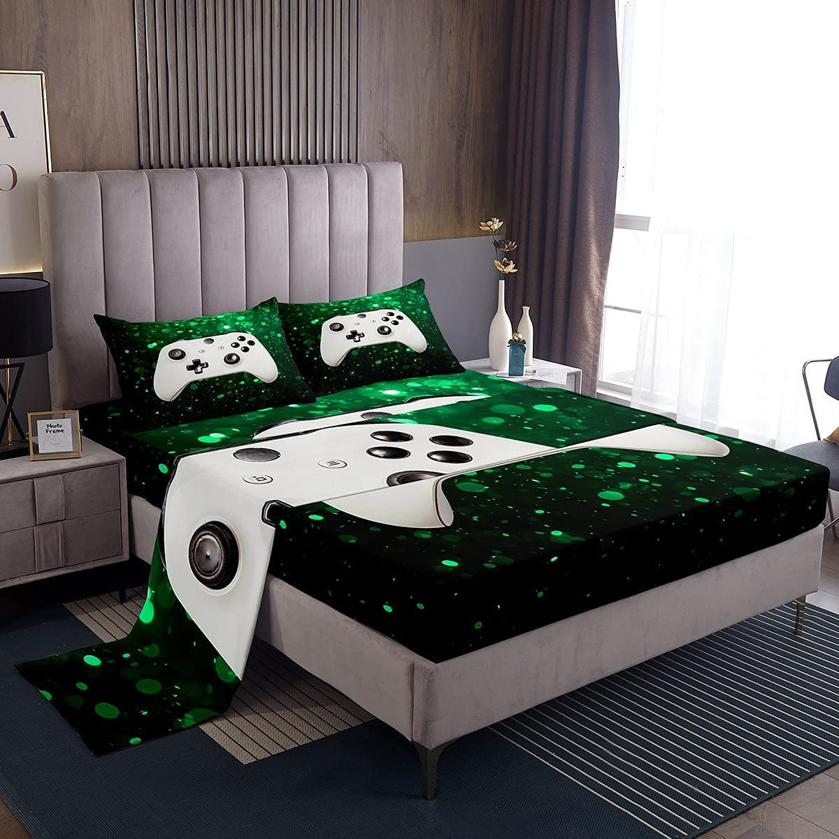 Gaming Wholesale Gamepad Gamer Fitted New sales Sheet Bedding Video Green Games Sets