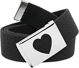 Girl's School Uniform Silver Flip Top Heart Belt Buckle...