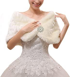 女士新娘婚礼人造皮草披肩肩斗篷冬季保暖夹克背心外套