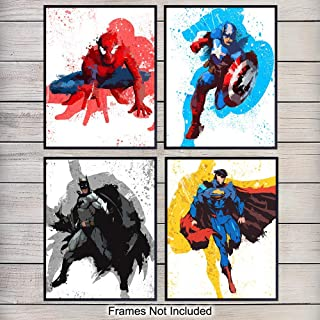 Marvel Superheroes Art Prints - Wall Art Poster Set - Unique Home Decor for Teens, Boys, Kids Bedroom, Man Cave, Game Room - Gift for Men, Batman, Superman, Spiderman, Captain America Fans, 8x10
