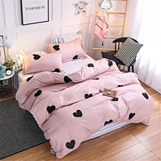 Pink Queen Comforter Cover Sets Black Heart Bedding Set-4pcs Quilt Cover Set- 1 Duvet Cover 2 Pillow Sham 1 Flat Sheet with Zipper Closure-Breathable Cotton Printed Bedding Sets for Boys Girls