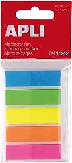 APLI, 11912, Índices adhesivos, film colores flúor, 12 x 44