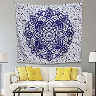 Y&M Design Indian Tapestry Hippie Bohemian Purple Multi Color Ombre Mandala Flower Wall Hanging Bedding Tapestry for Bedroom Living Room Dorms(Purple Flower, 50