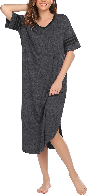 DREZZED Women Long Nightgowns Comfy Oversized Sleepwear Short Sleeve Sleepshirt Loungewear V Neck Sleep Dress S-XXL