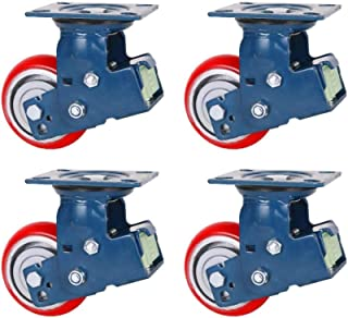 """LYQQQQ 4 Stks Heavy Duty Casters, 5/6/8 """"Double Spring Double Lager Schokabsorberende wielen, Hoge Elastische PU Iron Core..."""