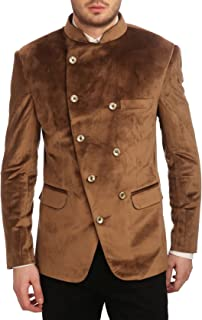 WINTAGE Men's Velvet Grandad Collar Ceremony Blazer-4 Colors