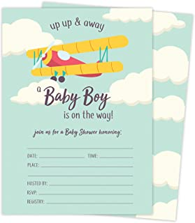 Airplane 1 Baby Shower Invitations Invite Cards (25 Count) With Envelopes and Seal Stickers Vinyl Boy (25ct Baby)
