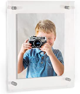 ArtToFrames Floating Acrylic Frame for Pictures Up to 20x30 inches (Full Frame is 24x34) with Muted Chrome Standoff Wall Mount Hardware, Acrylic-109-20x30-80