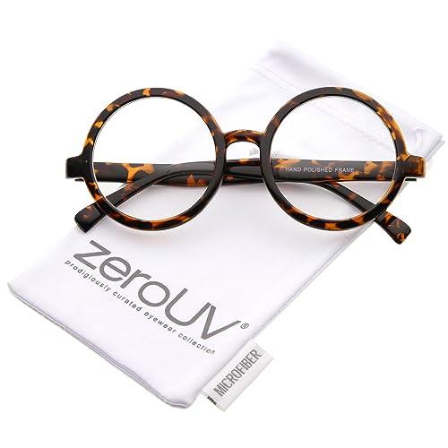 9d057d401c8 Retro Horn Rimmed Clear Lens Round Eyeglasses 52mm