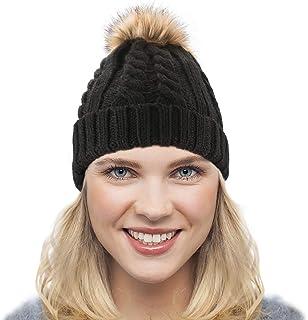 Dafunna Women's Soft Knit Beanie Hat Faux Fur Pom Pom Fleece Lined Skull Cap