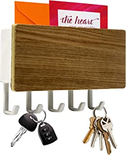 Hivory Wall Mounted Mail Holder with 5 Key Hooks ~ Coat Hanger, Purse Hanger, Towel Hook ~ Easy Mount for Entryway, Bathro...