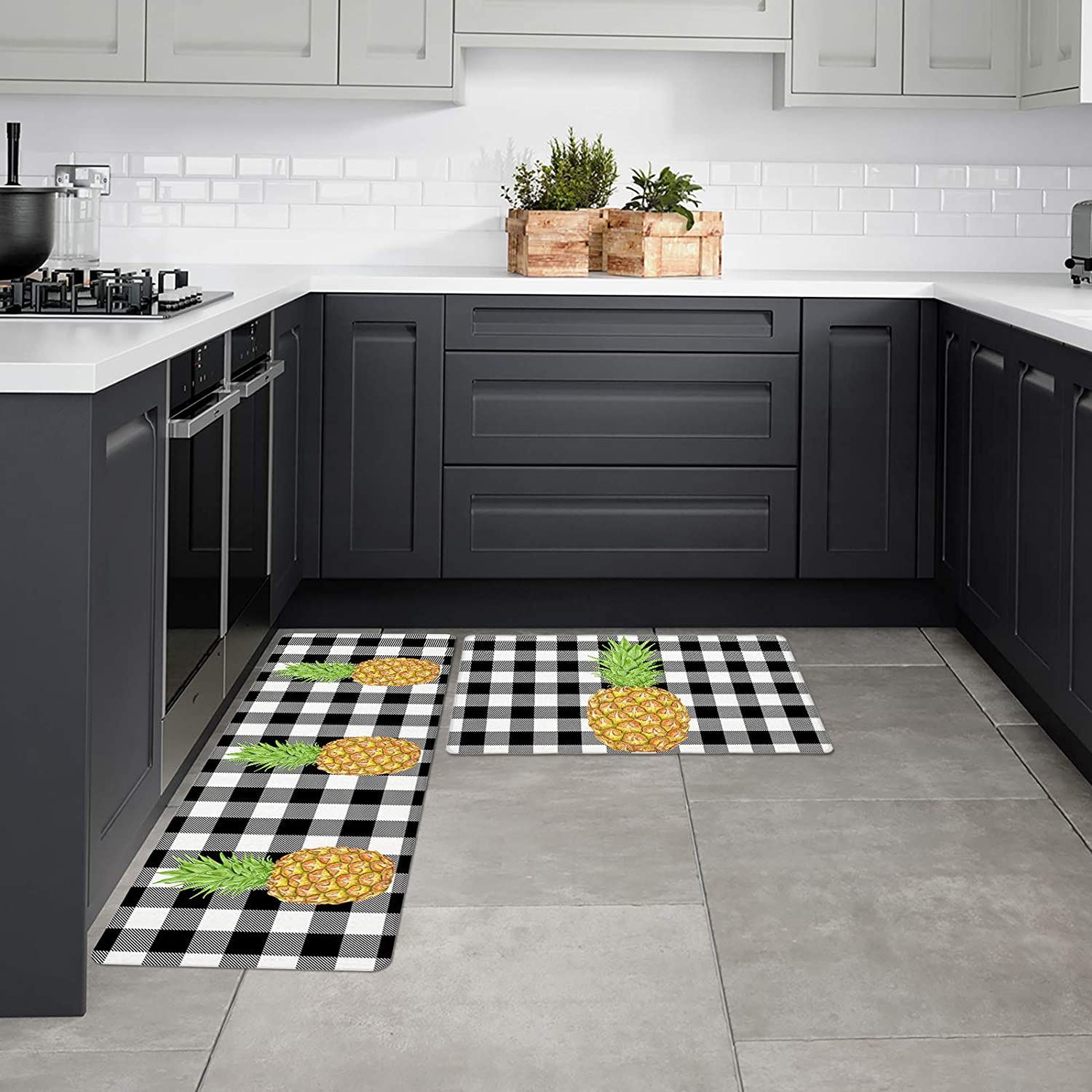 Kitchen Outlet sale feature Mats Branded goods Non-Slip with Rubber Backing Set Rugs 2 A of Pineap