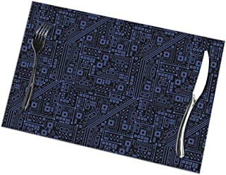Coffee Placemats Heat-Resistant Stain Resistant Large Tablemats for Kitchen Dining Restaurant (6 Pieces, Circuit Board Place Mats)