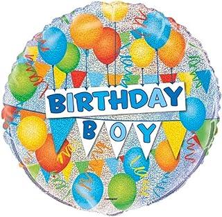 "Unique Birthday Boy Prismatic Foil Balloon, Multi, 45cm (18"")"