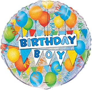 "Unique Birthday Boy Prismatic Foil Balloon, Multi, 45cm (18"")"