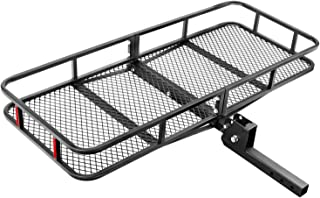 Leader Accessories Hitch Mount Cargo Basket Folding Cargo Carrier Luggage Basket 60