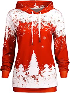 DEZZAL Women's Long Sleeve Christmas Tree Snowflake Hoodie with Pocket