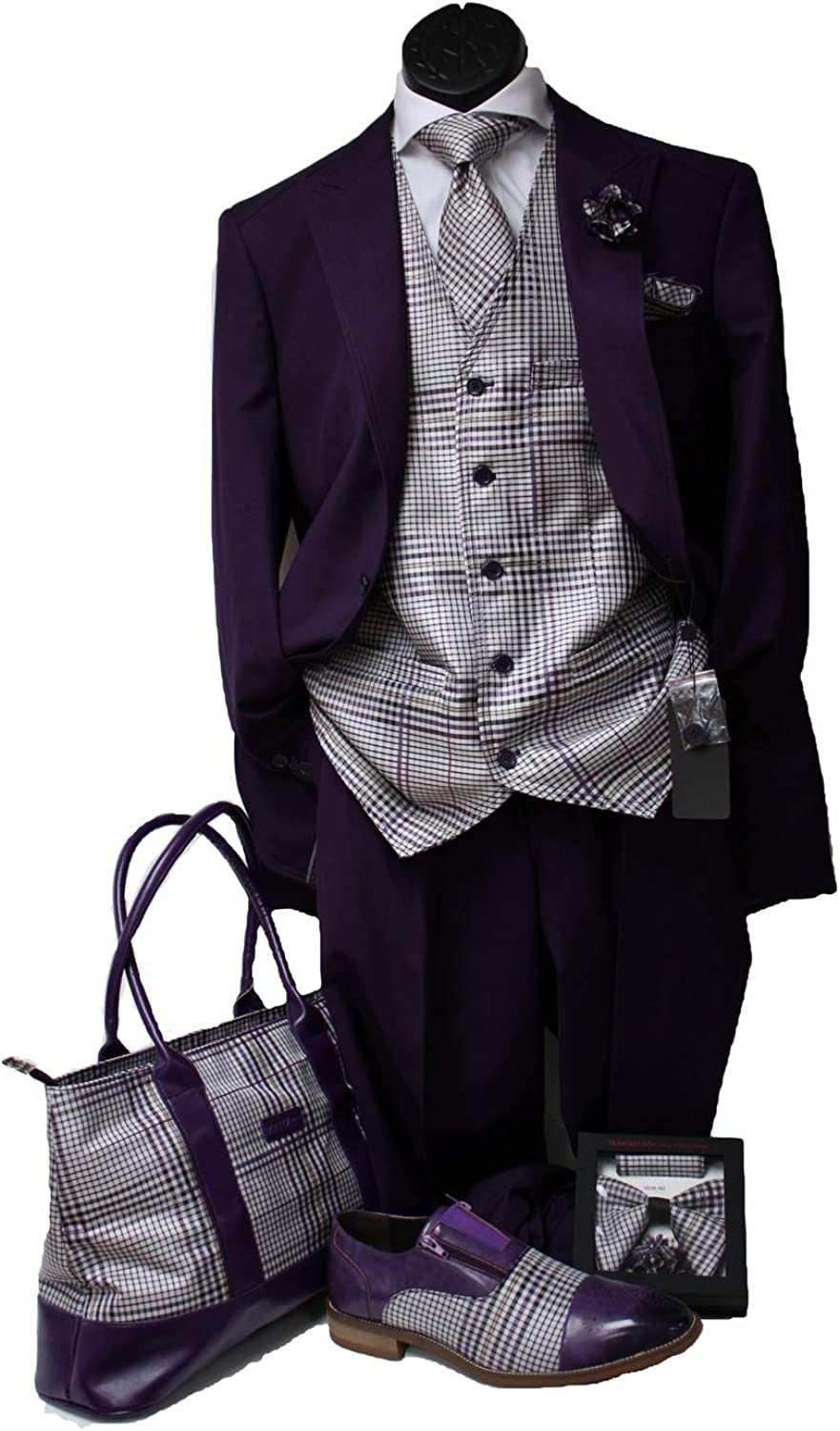 Men 3 pc Suit with Plaid Vest and Free Matching Tie or Bow Tie with Lapel Pin