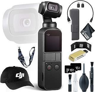 DJI Osmo Pocket Gimbal + USB Card Reader, SD/microSD + 16GB microSD Memory Card x2 + Baseball Cap & Lanyard and More