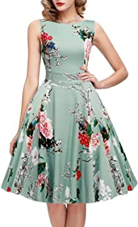 f4a6cf16c0e ihot Women s Vintage 1950s Classy Rockabilly Retro Floral Pattern Print  Cocktail Evening Swing Party Dress