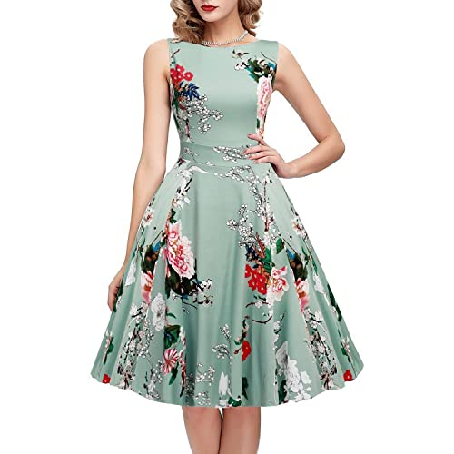 9aef03caeafb ihot Women's Vintage 1950s Classy Rockabilly Retro Floral Pattern Print  Cocktail Evening Swing Party Dress