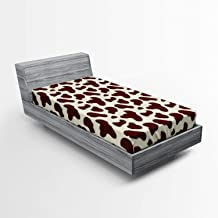 Ambesonne Cow Print Fitted Sheet, Cattle Skin with Brown Spots Agriculture Cow and Oxen Hide Camouflage Pattern, Soft Decorative Fabric Bedding All-Round Elastic Pocket, Twin Size, White Brown