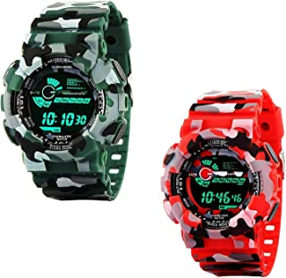 Emartos Combo of 2 Digital Multicolour Black dial Sport's Men's and Boy's Watch (Green, Red)