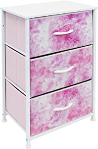 Sorbus Nightstand Storage Organizer Chest with 3 Drawers - Kids Girls, Boys Bedroom Furniture Chest for Clothes, Closet Organization - Steel Frame, Wood Top, Tie-dye Fabric Bin (3-Drawer, Pink)