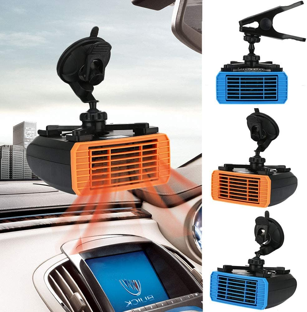 Auto Ventola Riscaldamento 2 IN 1 Veicolo Ventola Refrigerante Rumore Basso 12V//24V Auto Riscaldamento Riscaldatore Essiccatore Sbrinatore Sbrinante Veloce Raffreddamento Termico con Clip O Ventosa