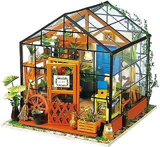 XYZMDJ Dollhouse trä rum kit, blomma grönt hus, heminredning, miniatyrmodell att bygga
