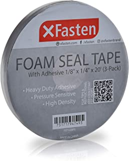 XFasten Black Foam Seal Tape with Adhesive, 1/8-Inch-Thick, 1/4-Inch x 20-Foot (3-Pack), High-Density Weather Strip Tape for Window, Door, Pipe and AC Insulation- Neoprene Insulation Foam Strip Tape