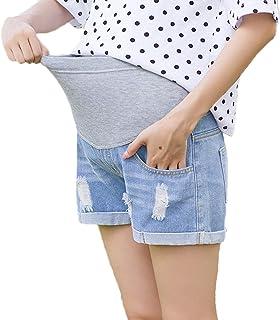 kewing maternità Strappato Pantaloncini di Jeans - Donne in Gravidanza Regolabile Cura Elastica Pancia Lounge Jeans Shorts...